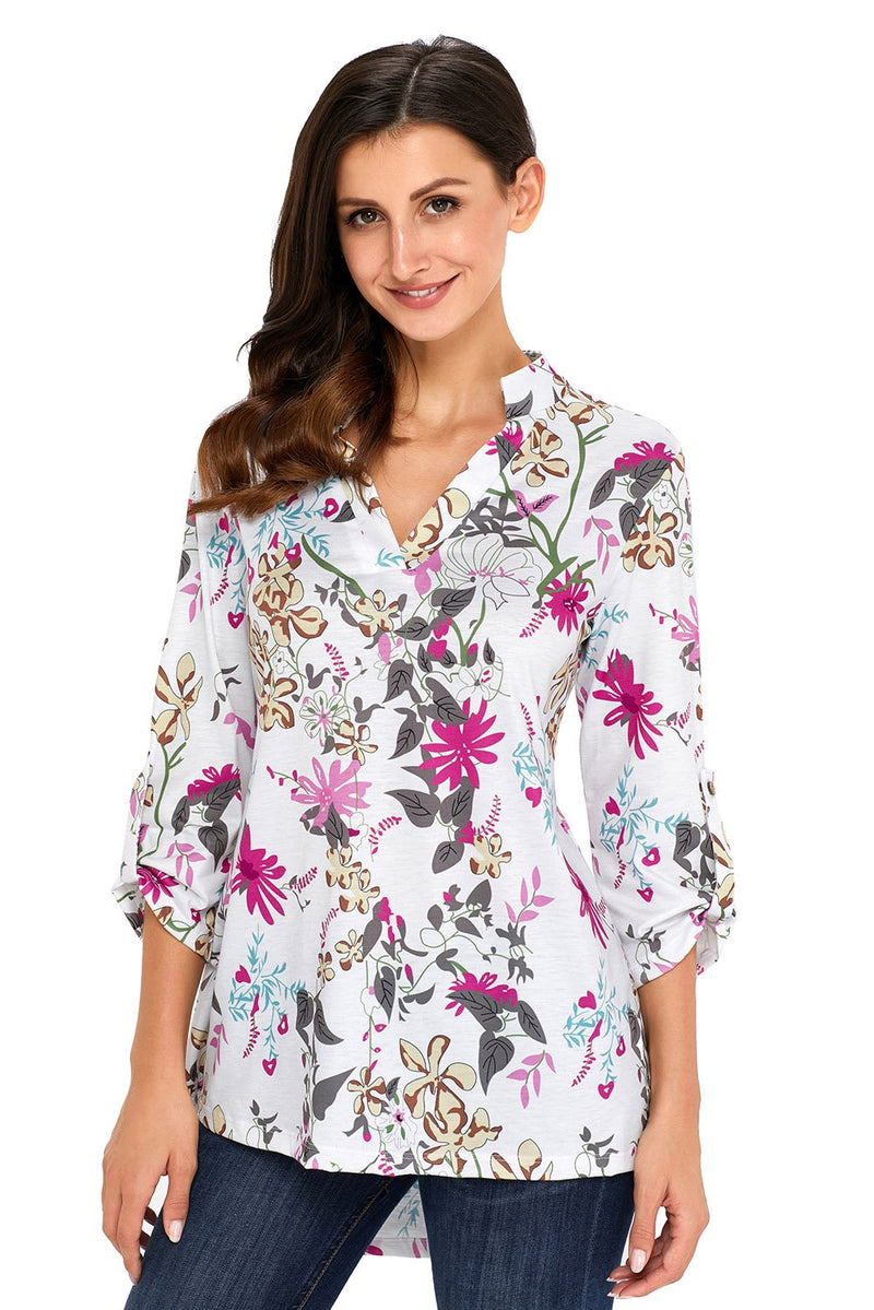 Long Sleeve White Magenta Floral Print Slight V Neck Blouse - Winter Haven Co