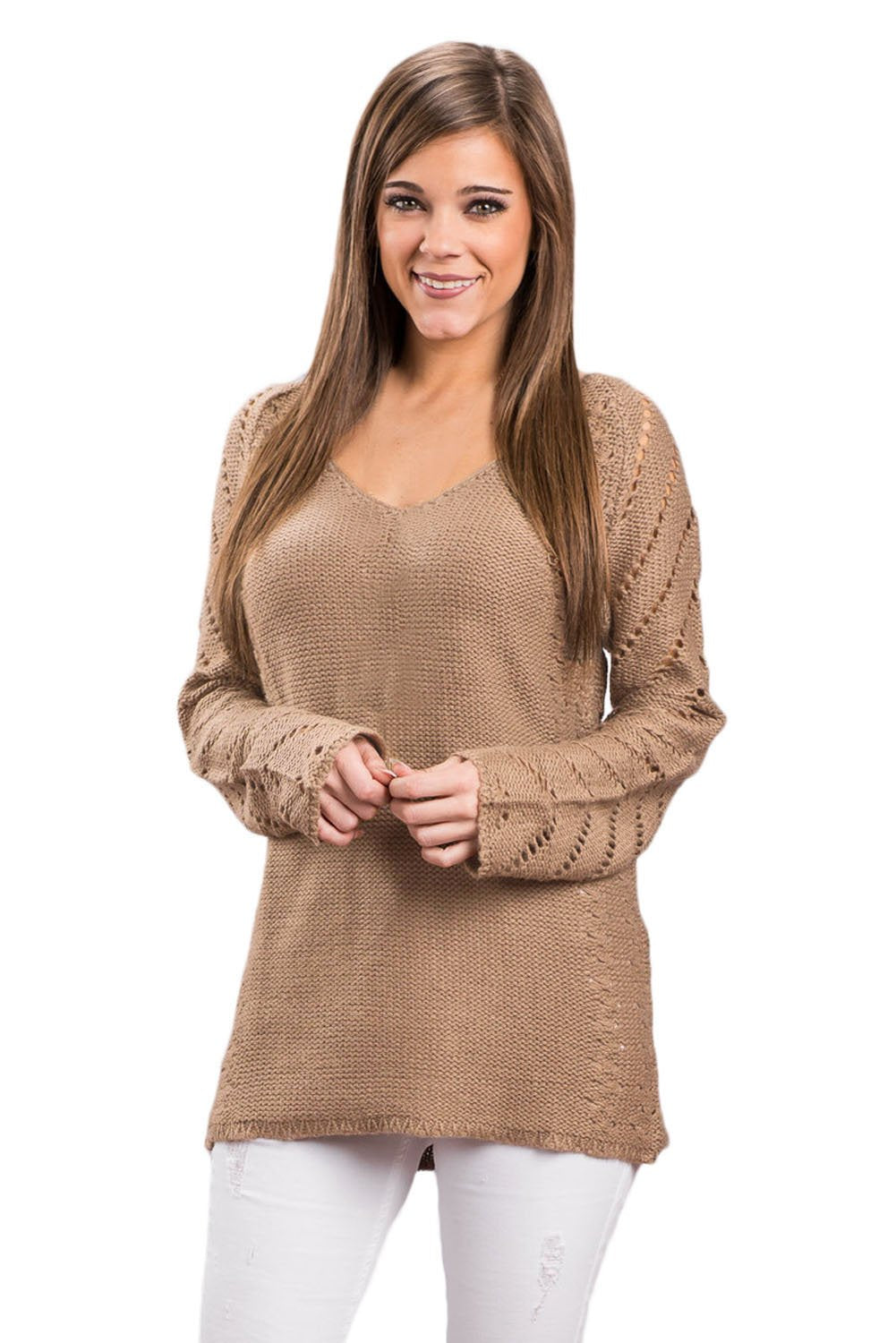Mocha Knit Sleeve Hollow Out V Neck Loose Sweater - Winter Haven Co