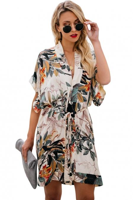 Multicolor Floral Kimono Dress - Winter Haven Co