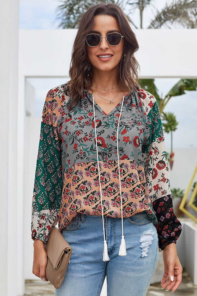 Multicolor Floral Print Peasant Long Sleeve Blouse - Winter Haven Co