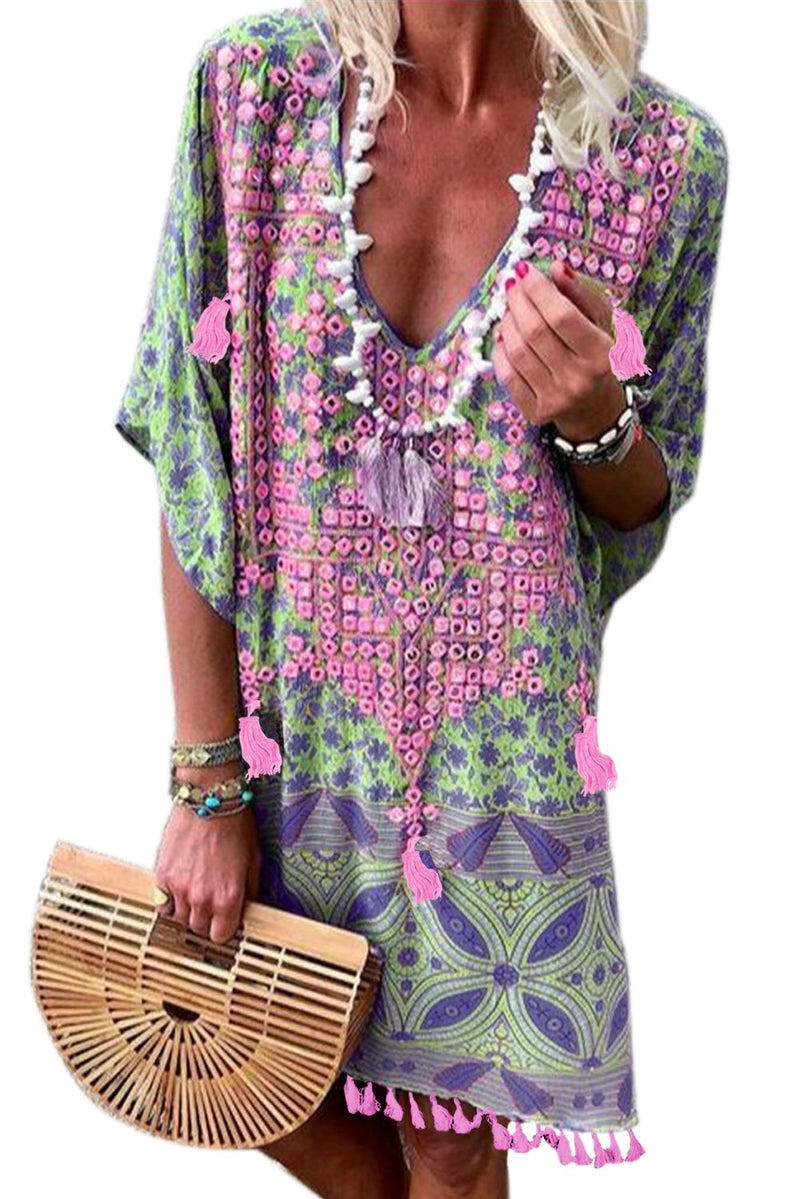 Multicolor Floral Tassel Boho Summer Dress - Winter Haven Co