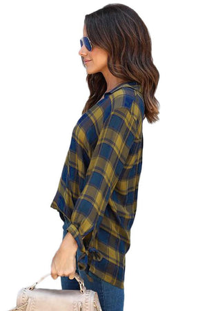 Mustard Blue Plaid Drape Blouse - Winter Haven Co