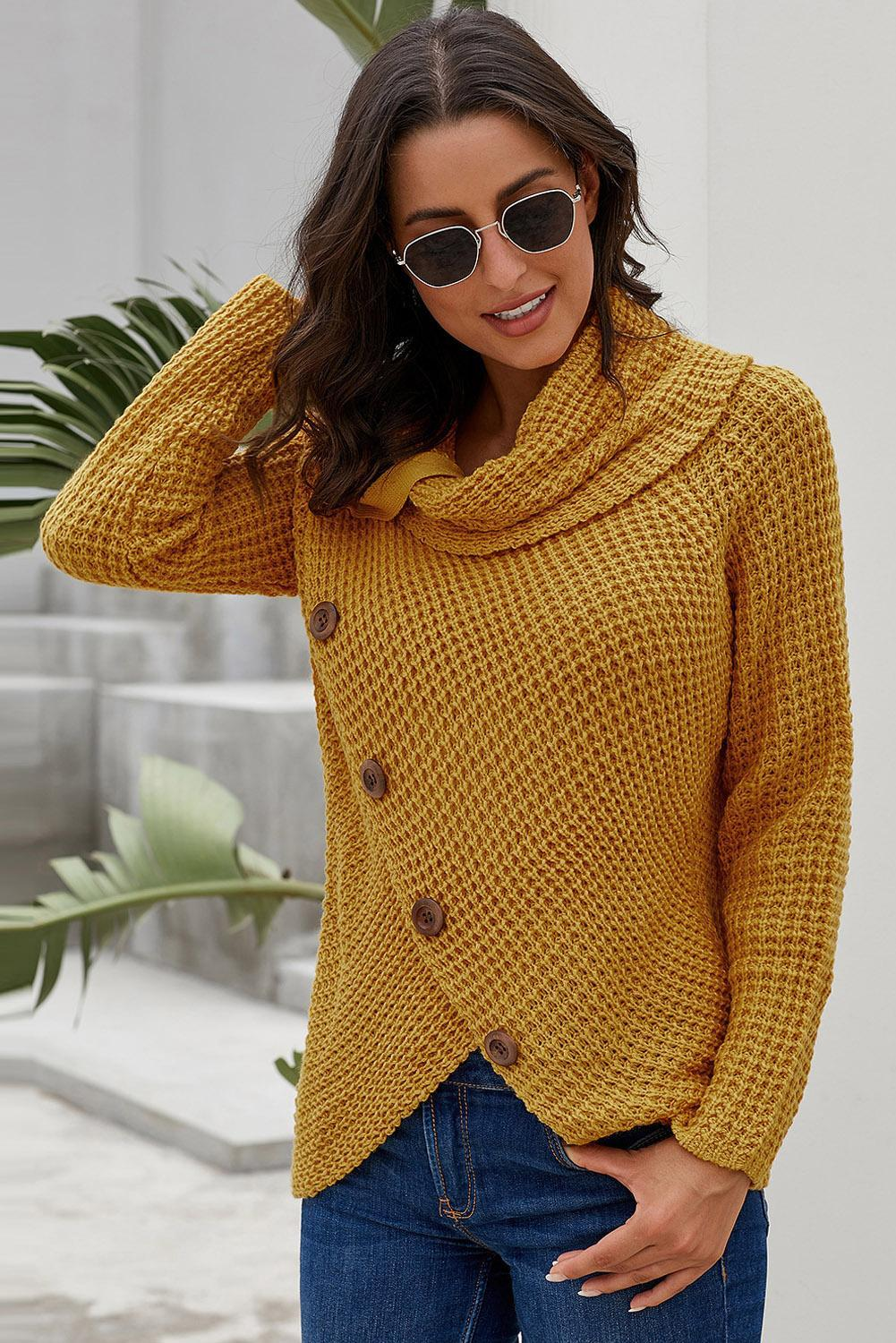 Mustard Buttoned Wrap Turtleneck Sweater - Winter Haven Co
