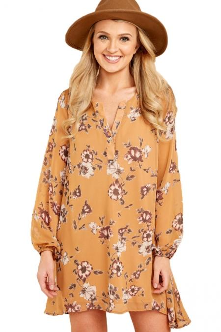 Mustard Floral Print V Neck Long Sleeve Chiffon Dress - Winter Haven Co