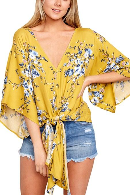 Mustard Flowery Print Tie Front Kimono Sleeve Blouses - Winter Haven Co