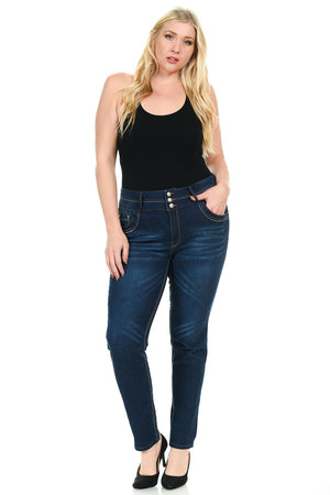 Pasion Women's Jeans - Plus Size - High Waist - Push Up - Skinny - Style K109BR