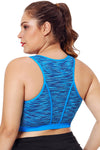 Plus Size Blue Piping Trim Racerback Workout Bra - Winter Haven Co