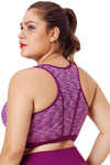 Plus Size Rosy Piping Trim Racerback Workout Bra - Winter Haven Co