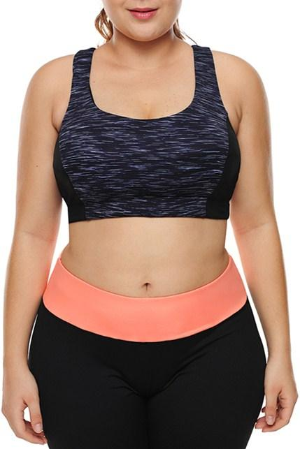 Plus Strappy Crisscross Back Hesather Navy Gym Bras