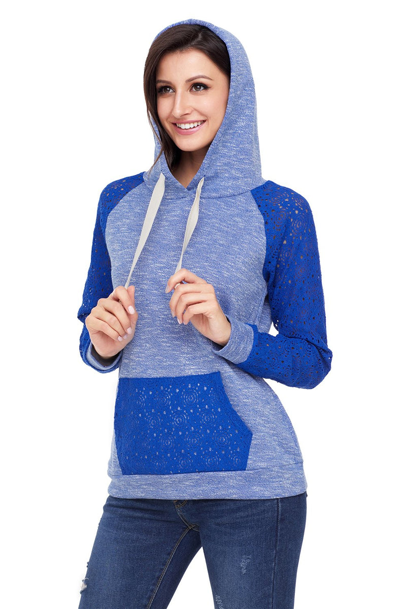 Royal Blue Lace Accent Kangaroo Pocket Womens Hoodie - Winter Haven Co