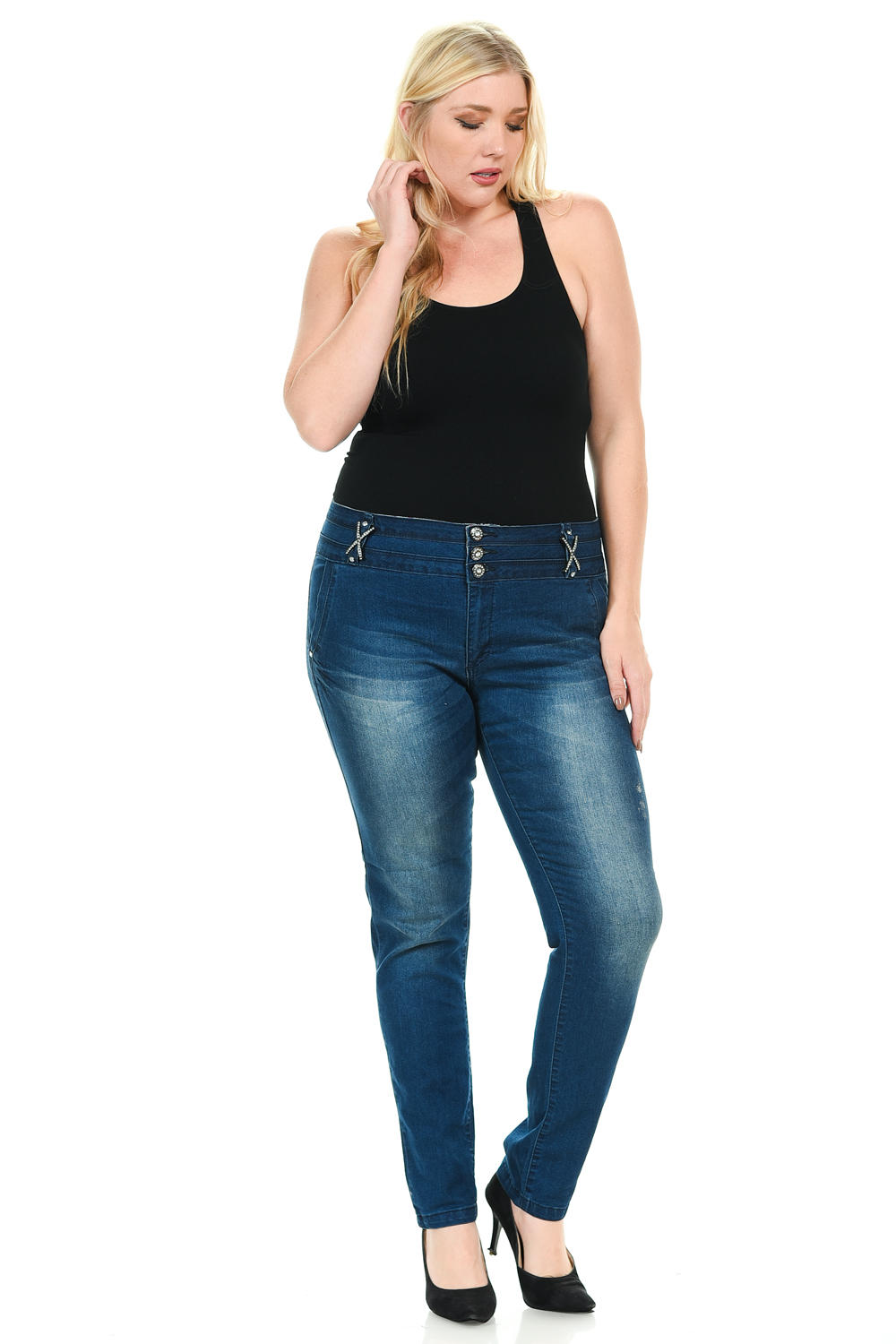 Sweet Look Premium Edition Women's Jeans - Plus Size - High Waist - Skinny - Style 001