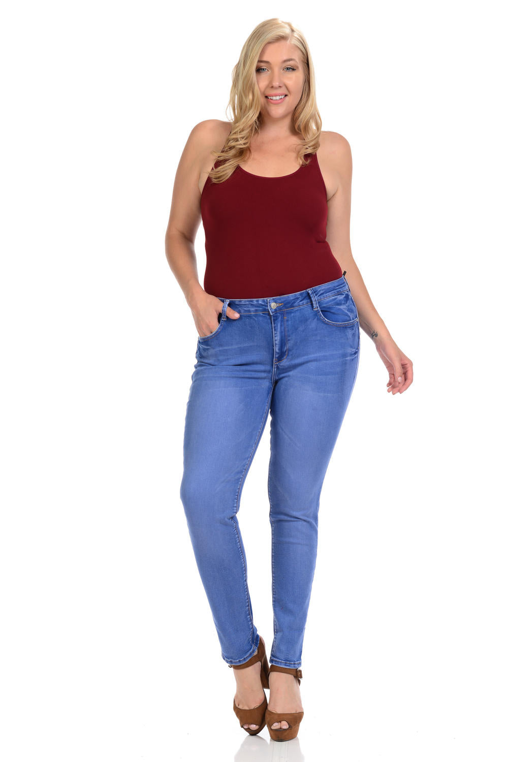 Sweet Look Premium Edition Women's Jeans - Plus Size - High Waist - Skinny - Style A282
