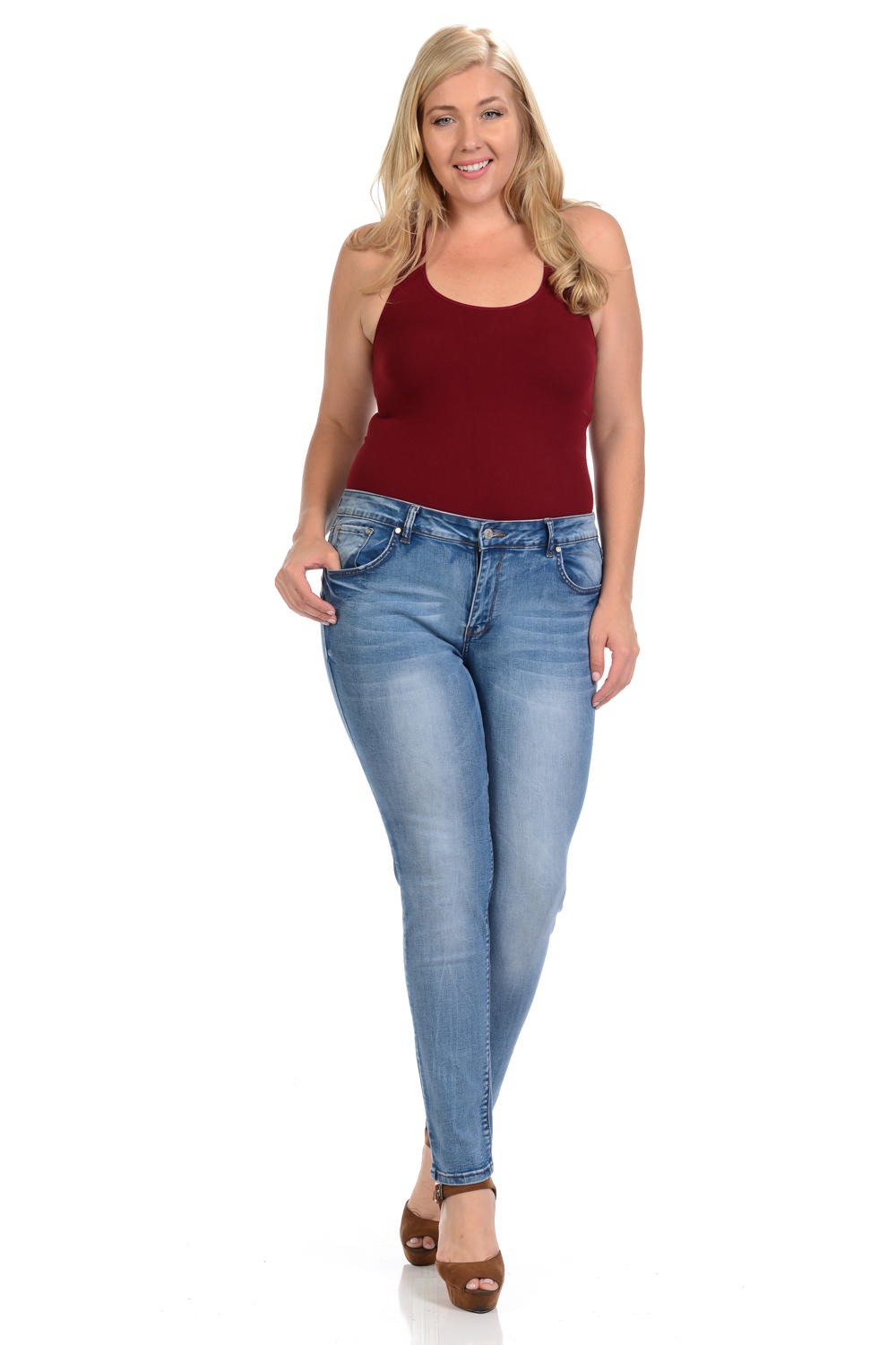 Sweet Look Premium Edition Women's Jeans - Plus Size - High Waist - Skinny - Style A283