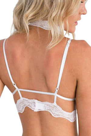 Sexy White Seductive Strappy Choker Lace Bra Lingerie - Winter Haven Co