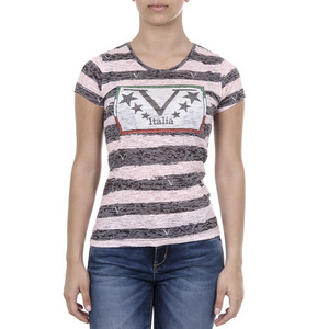 V 1969 Italia Womens T-shirt Short Sleeves Round Neck Multicolor CHARLOTTE - Winter Haven Co