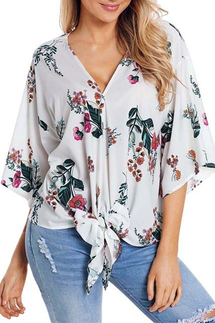 Casual loose White Flowery Print Tie Front Kimono Sleeve Blouse - Winter Haven Co