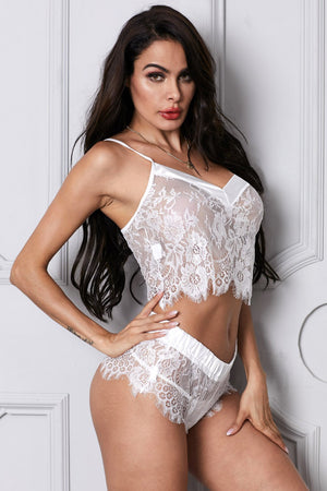 White Lace Dreamer Cami Knicker Lingerie Set - Winter Haven Co
