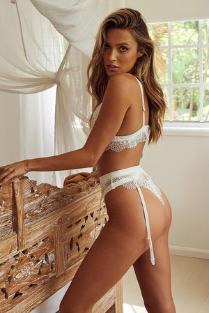White Suspender Attached High Waist Lace Bralette Set - Winter Haven Co
