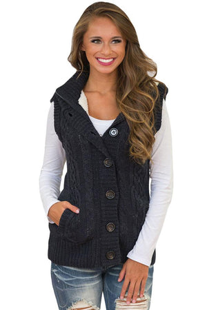 Women Black Cable Knit Hooded Sweater Vest - Winter Haven Co