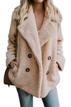 Women Khaki Fleece Open Front Coat With Pockets - Winter Haven Co