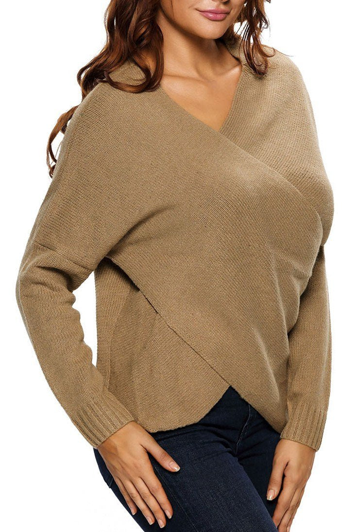 Khaki Long Sleeve Chunky Cross Wrap V Neck Tunic Pullover Sweater - Winter Haven Co