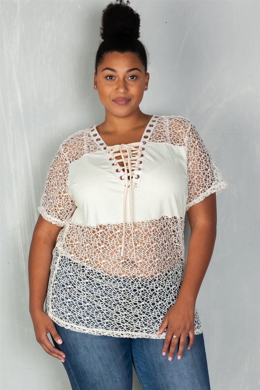 Plus Size Solid Panel Crochet Lace Up Boho Top
