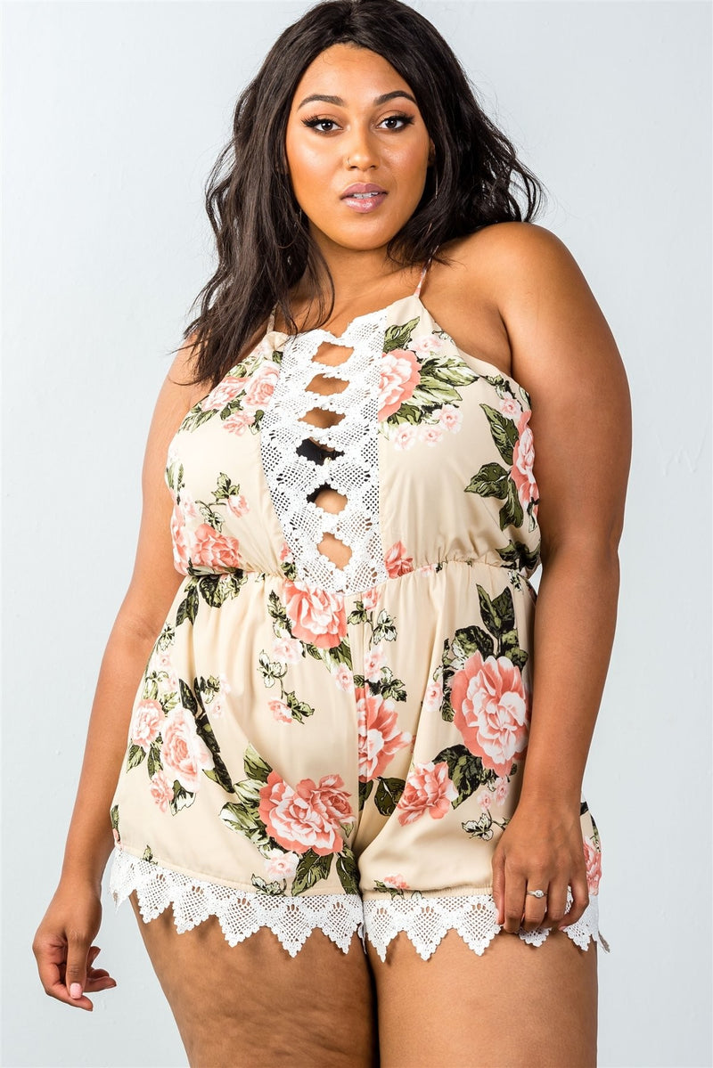 Plus Size Sleeveless Crochet Trim Romper - Winter Haven Co