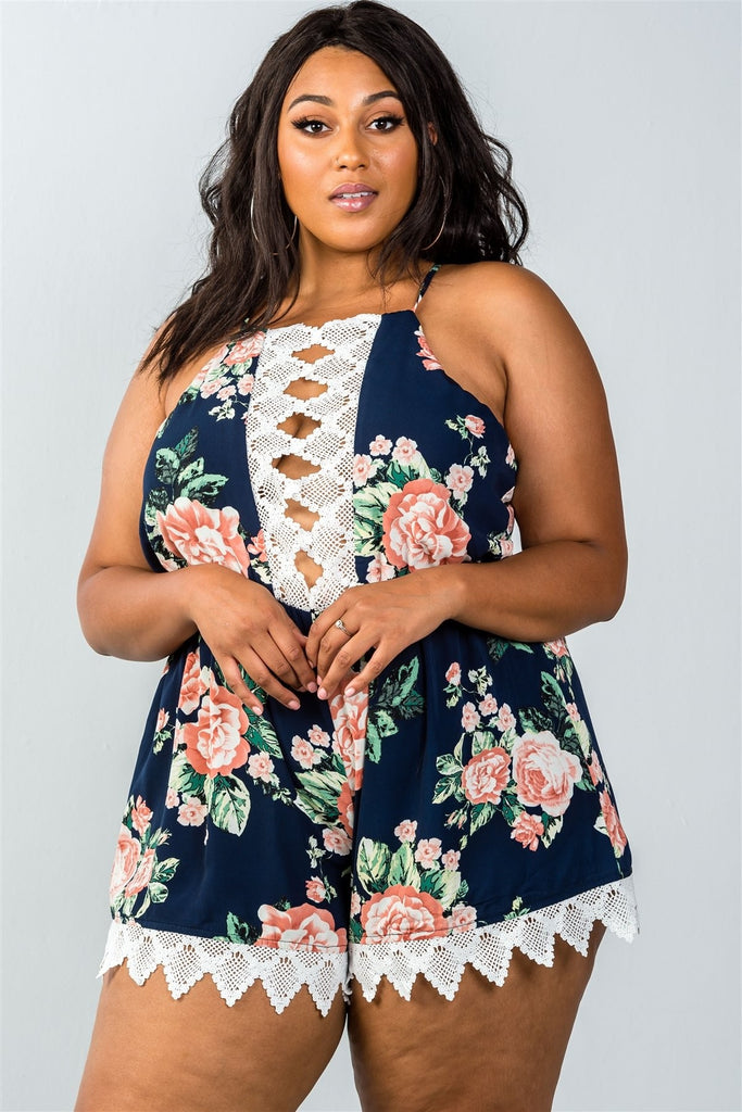 Plus Size Sleeveless Crochet Trim Romper