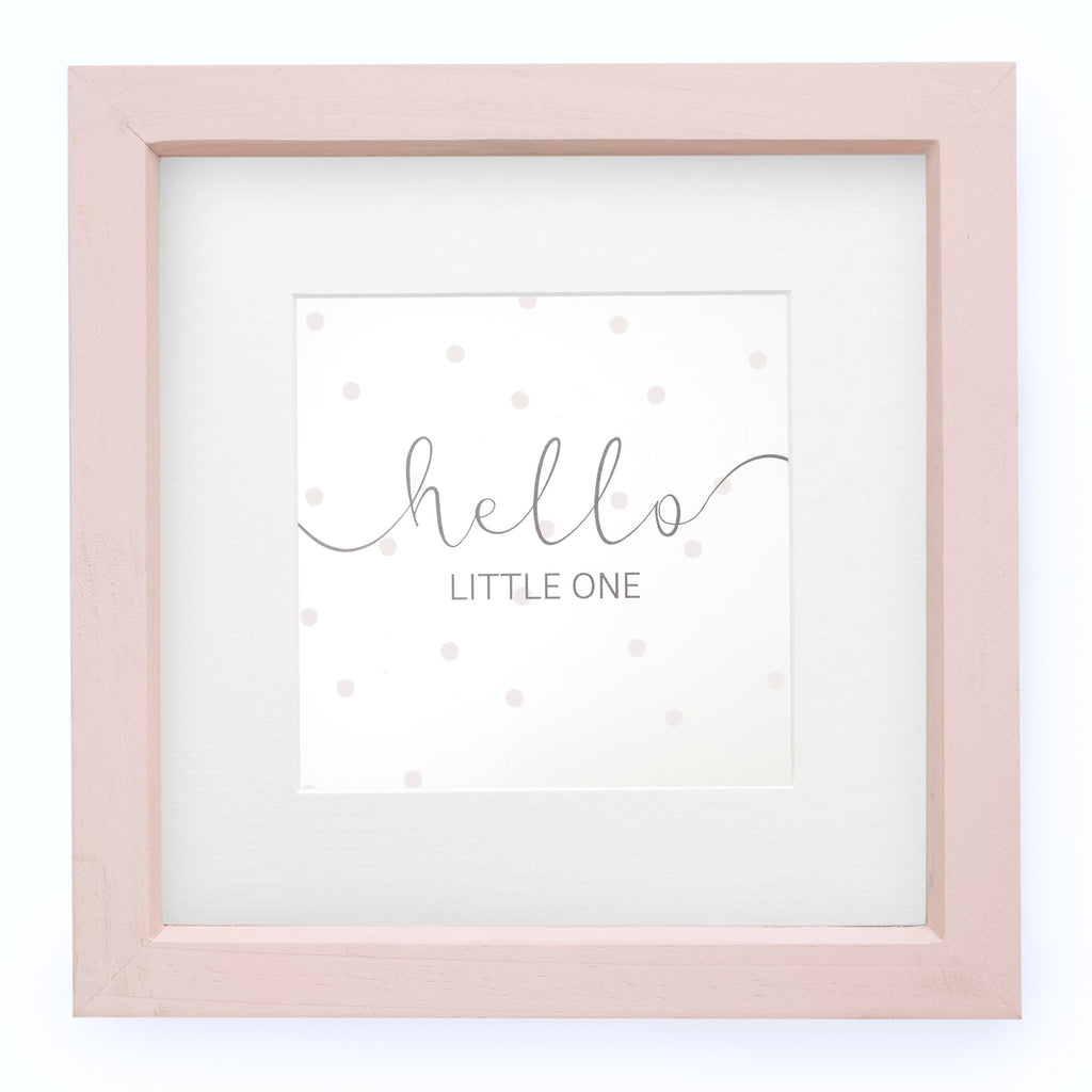 'Hello Little One' Framed Print - Dusky Pink