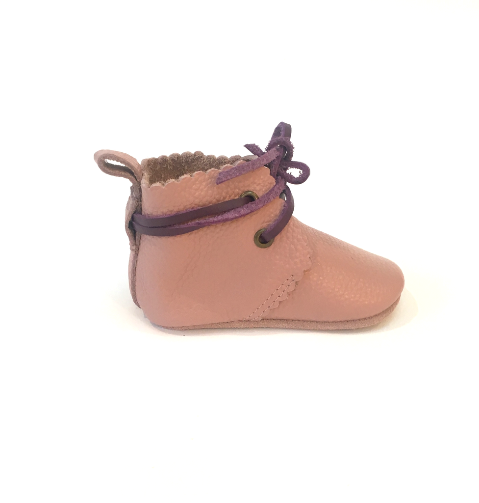 Mabel - Vintage Pink Laced Ankle Boots