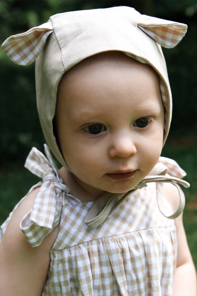 Little Bear Bonnet- Beige Gingham