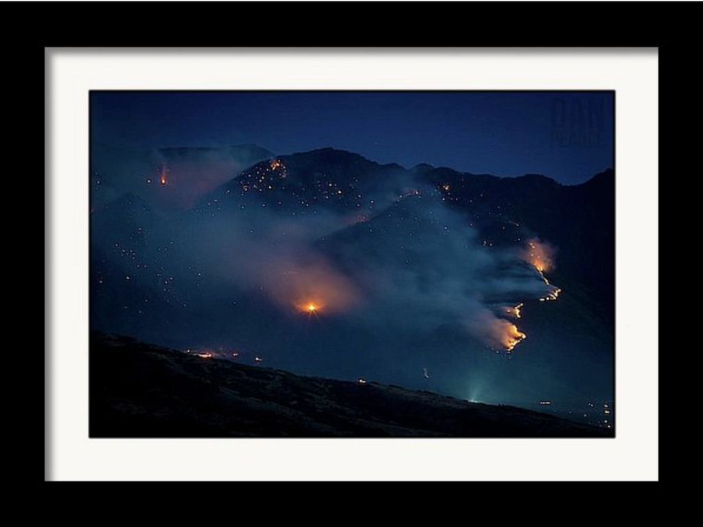 Photo Print: A Smokey Mountain Fire at Night