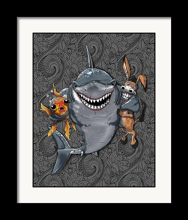 """A Shark's Best Friends"" - Donkey, Fish, Shark Art Print - Dan Pearce Creative Shop"