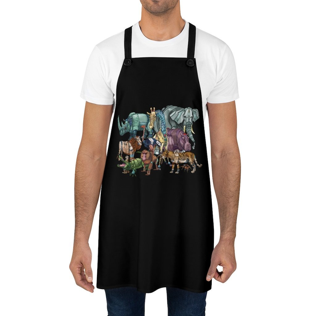 """African Robot Animals"" Cooking Apron Featuring Art by Dan Pearce - Dan Pearce Creative Shop"