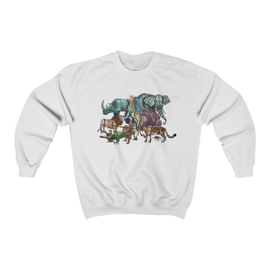 """African Robot Animals"" Crewneck Premium Sweatshirt - Dan Pearce Creative Shop"