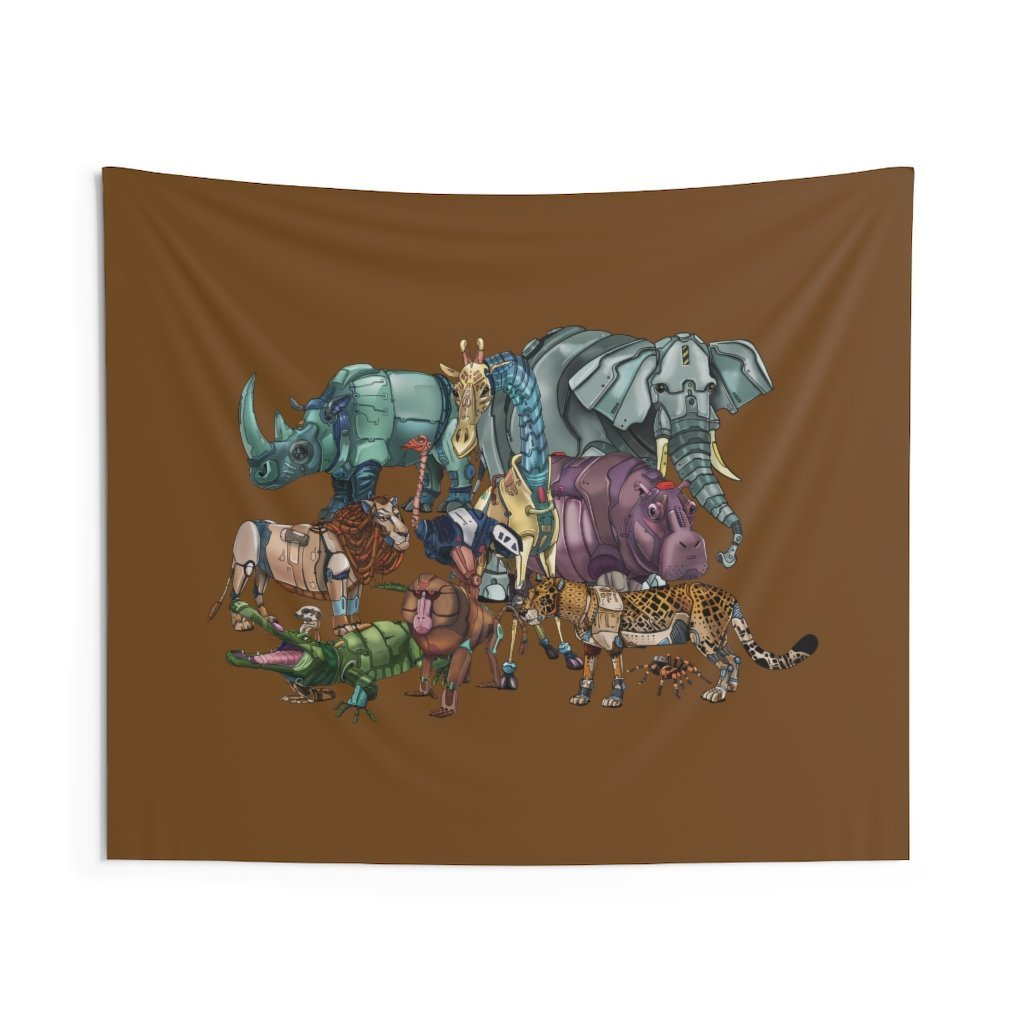 """African Robot Animals"" Featured Indoor Wall Tapestry - Dan Pearce Creative Shop"