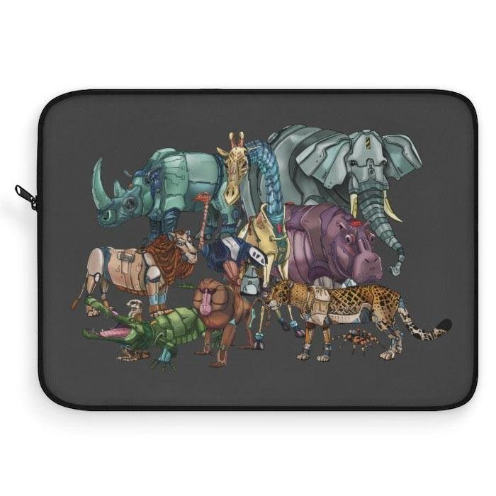 """African Robot Animals"" Laptop Sleeve Featuring Artwork by Dan Pearce - Dan Pearce Creative Shop"