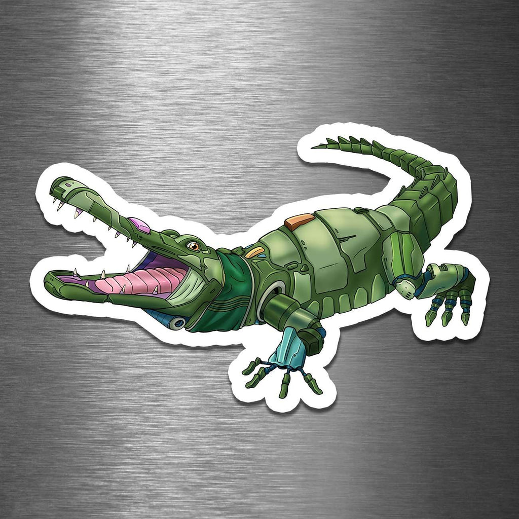 """Alligator Robot"" - 3.5"" Premium Vinyl Sticker - Dan Pearce Creative Shop"