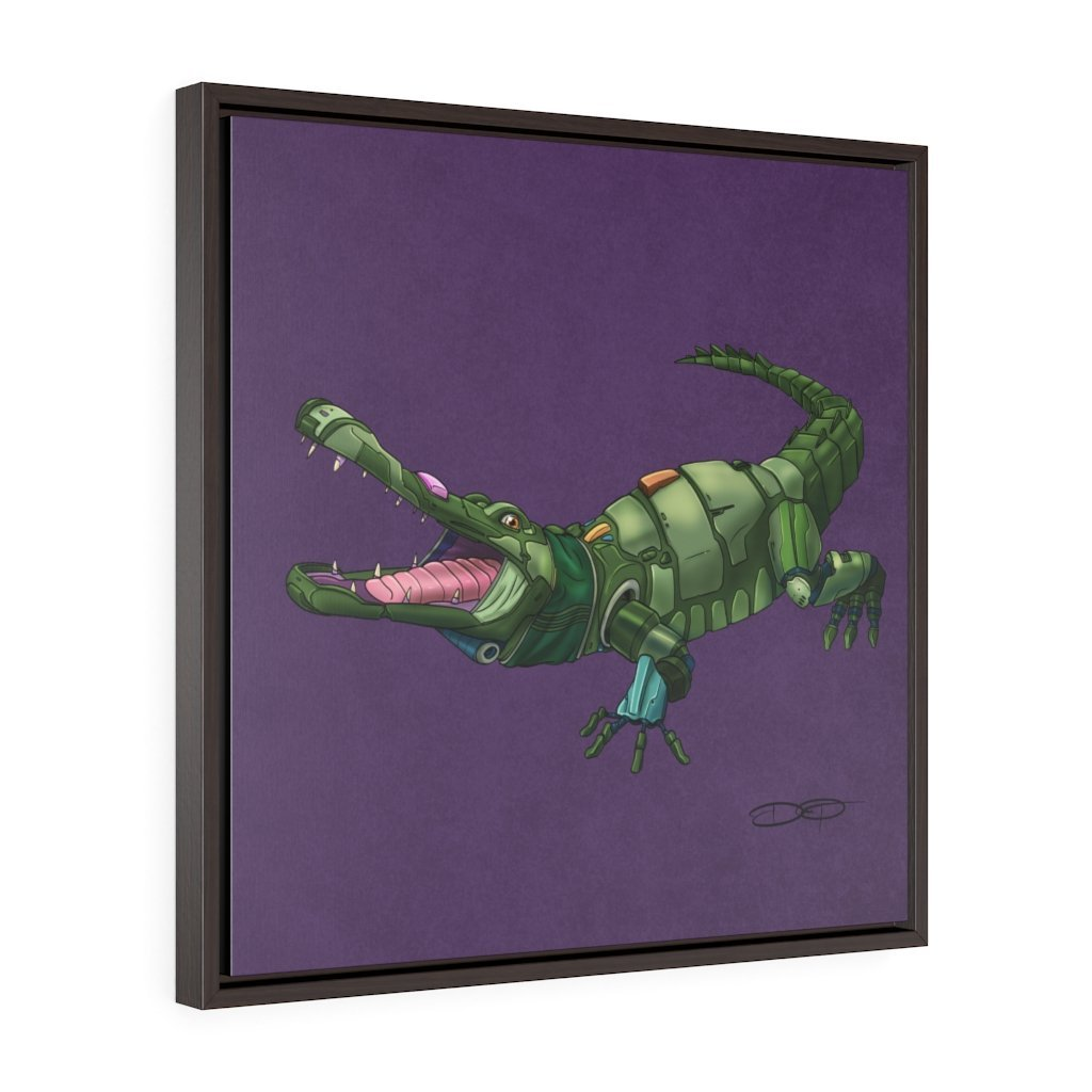 """Alligator Robot"" Art (Square) Framed Premium Gallery Wrap Canvas - Dan Pearce Creative Shop"