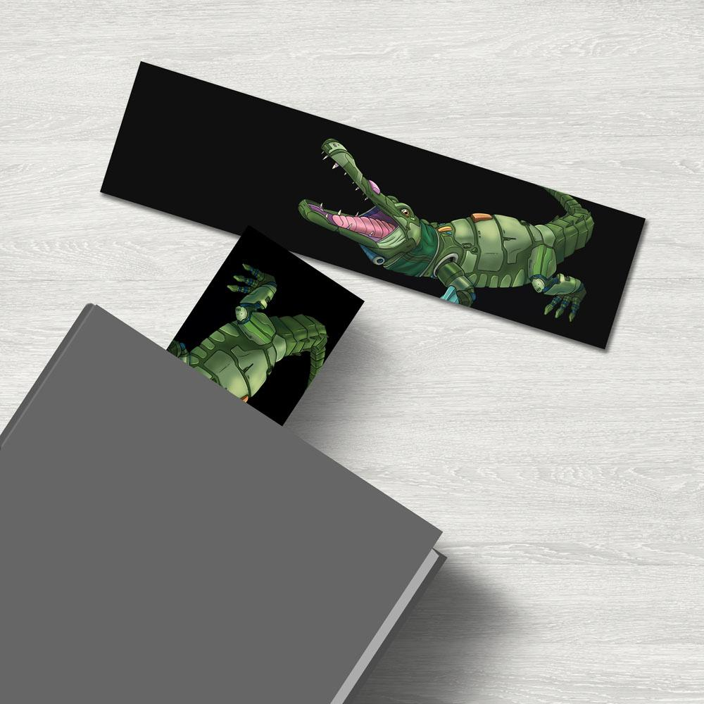 """Alligator Robot"" Premium Bookmark Featuring Art by Dan Pearce - Dan Pearce Creative Shop"