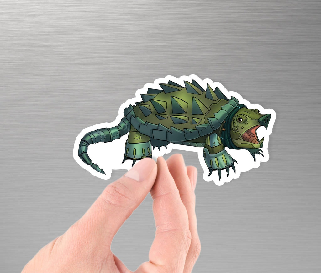 """Alligator Snapping Turtle Robot"" - 3.5"" Premium Vinyl Sticker - Dan Pearce Creative Shop"