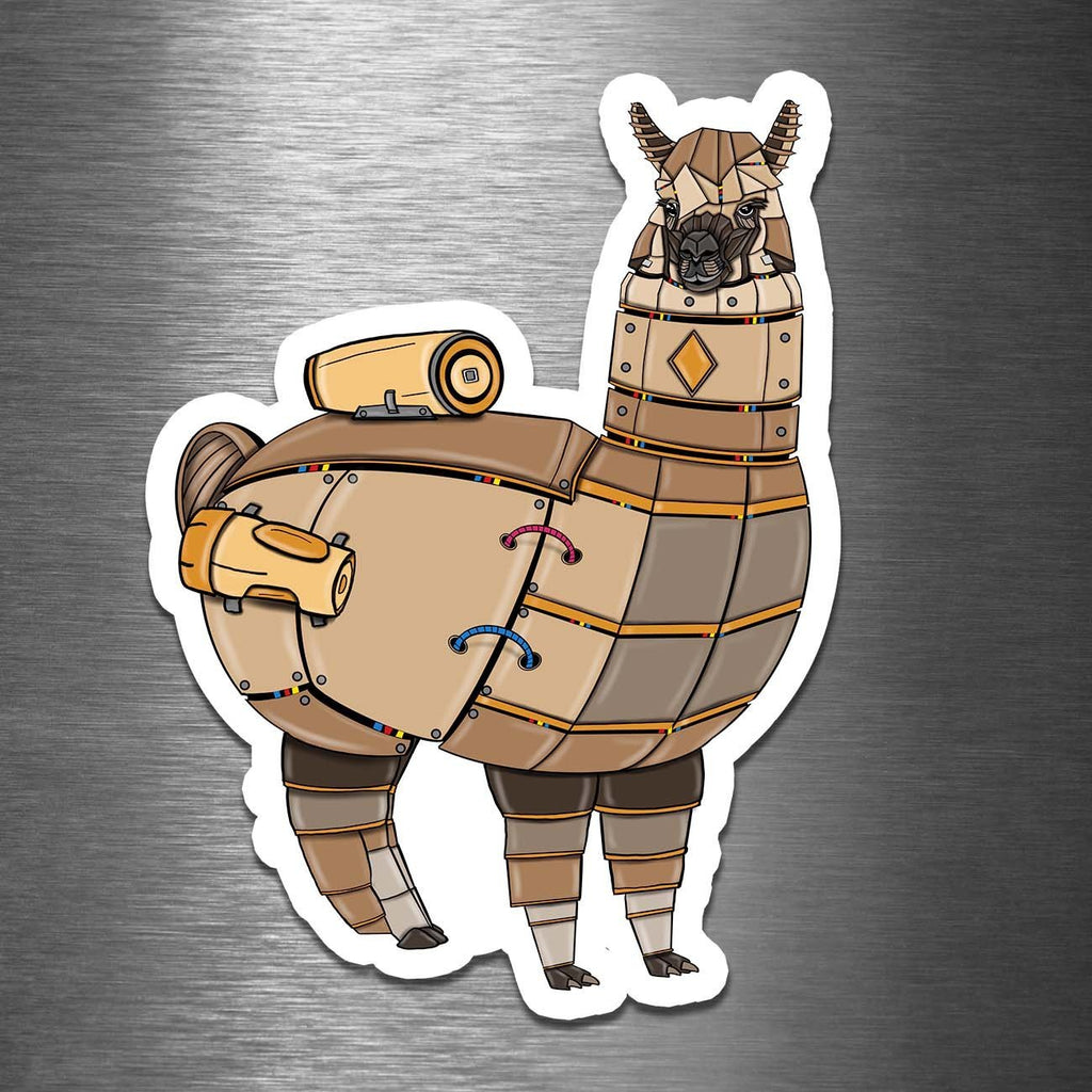 """Alpaca Robot"" - 3.5"" Premium Vinyl Sticker - Dan Pearce Creative Shop"
