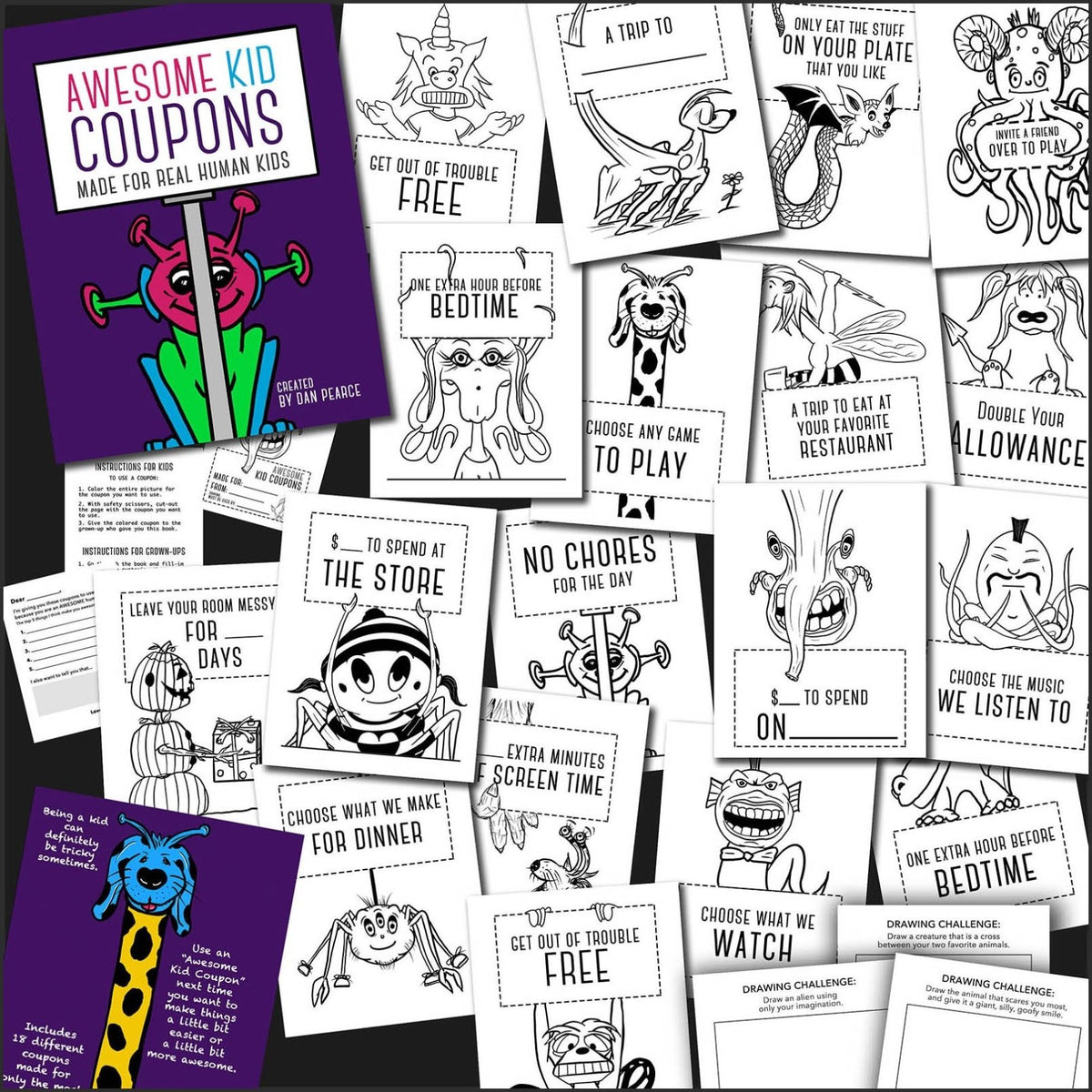 Awesome Kid Coupons And Coloring Book Made For Real Human Kids Dan Pearce Creative Shop