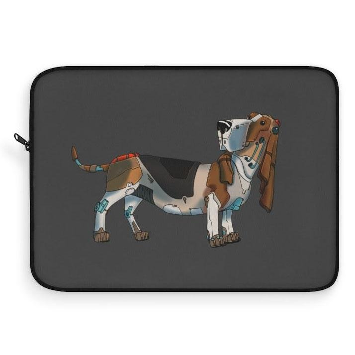 """Basset Hound Robot"" Laptop Sleeve Featuring Artwork by Dan Pearce - Dan Pearce Creative Shop"
