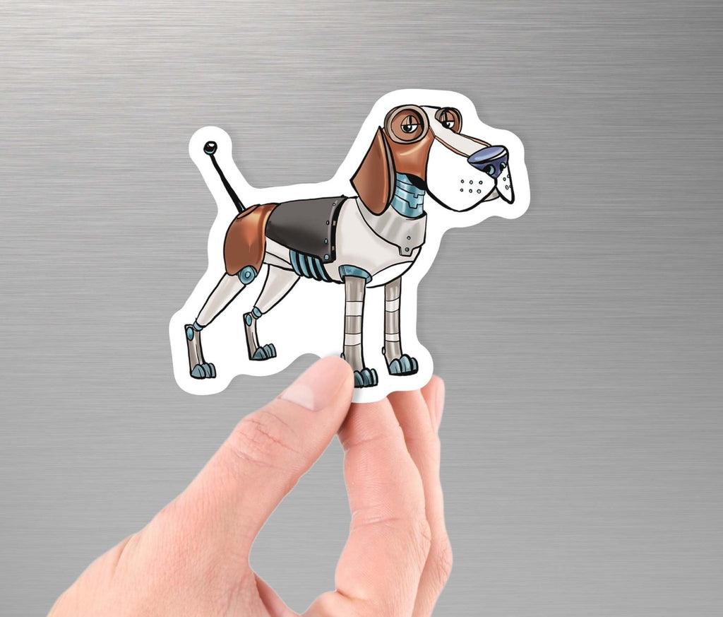 """Beagle Dog Robot"" - 3.5"" Premium Vinyl Sticker - Dan Pearce Creative Shop"