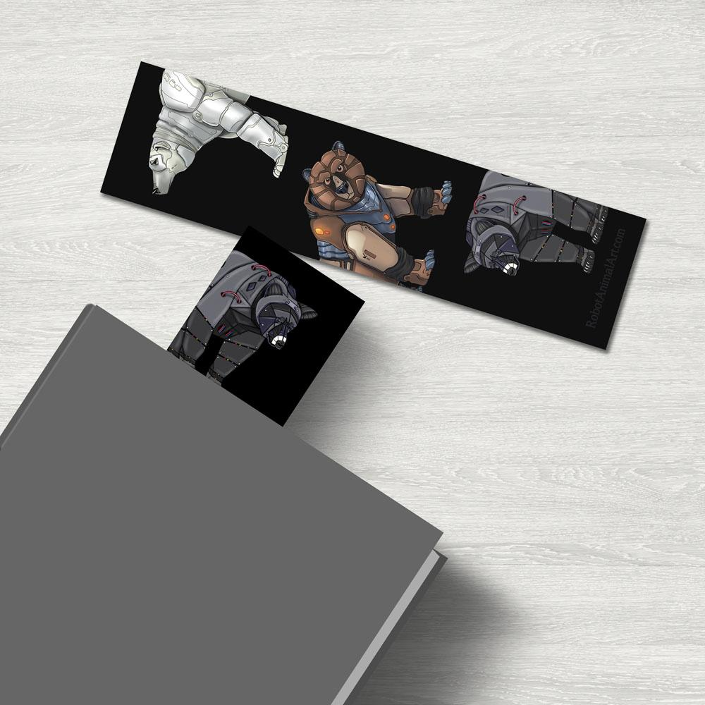 """Bear Robots"" Premium Bookmark Featuring Art by Dan Pearce - Dan Pearce Creative Shop"