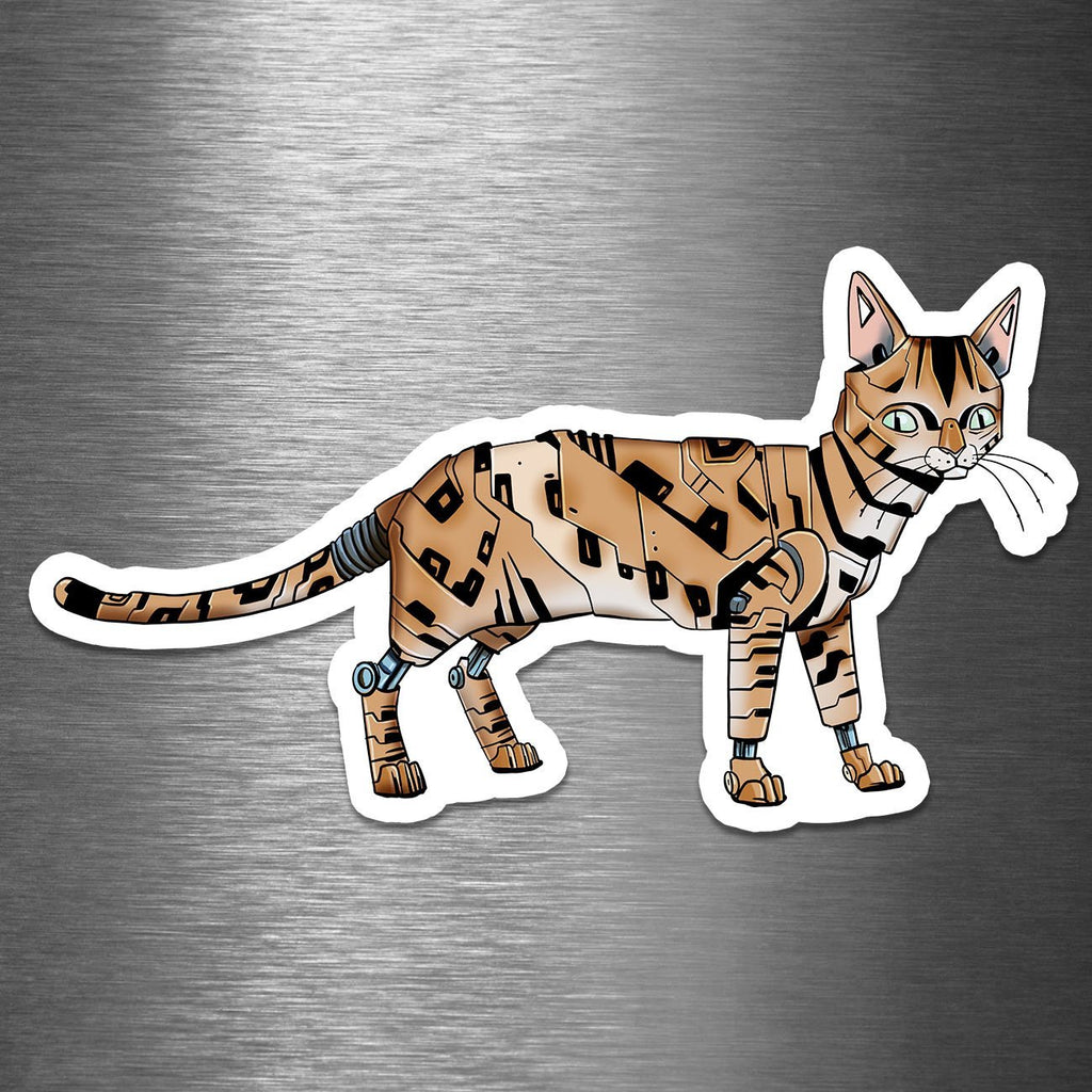 """Bengal Cat Robot"" - 3.5"" Premium Vinyl Sticker - Dan Pearce Creative Shop"
