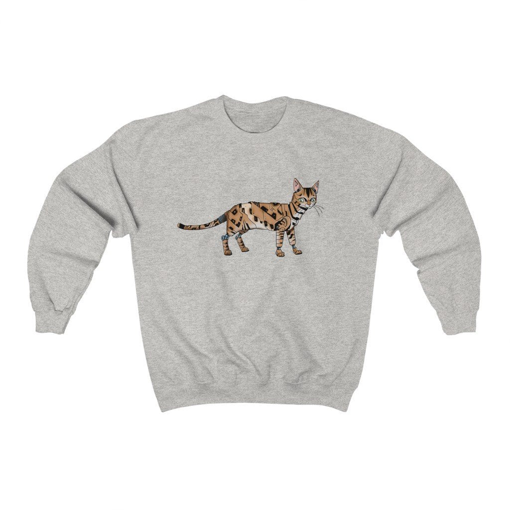 """Bengal Cat Robot"" Crewneck Premium Sweatshirt - Dan Pearce Creative Shop"