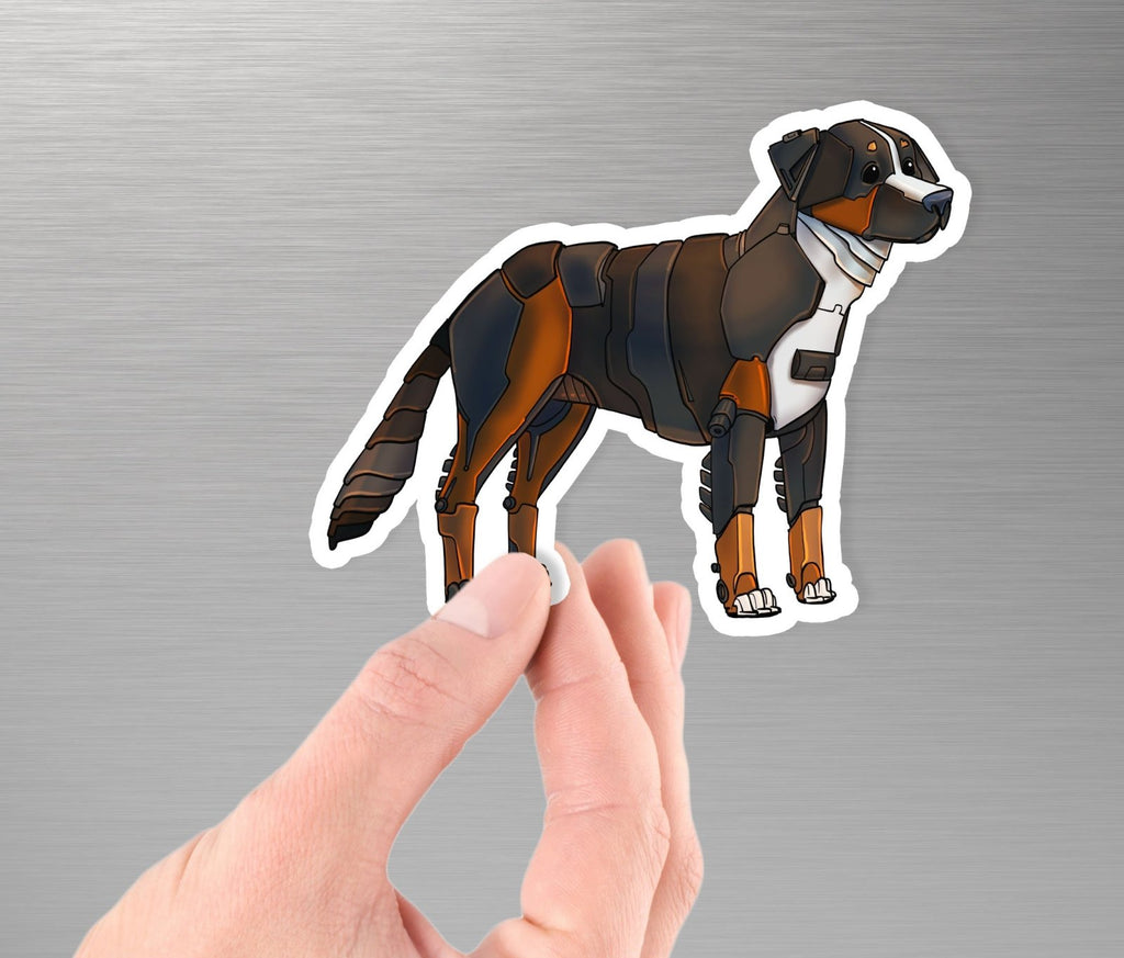 """Bernese Mountain Dog Robot"" - 3.5"" Premium Vinyl Sticker - Dan Pearce Creative Shop"