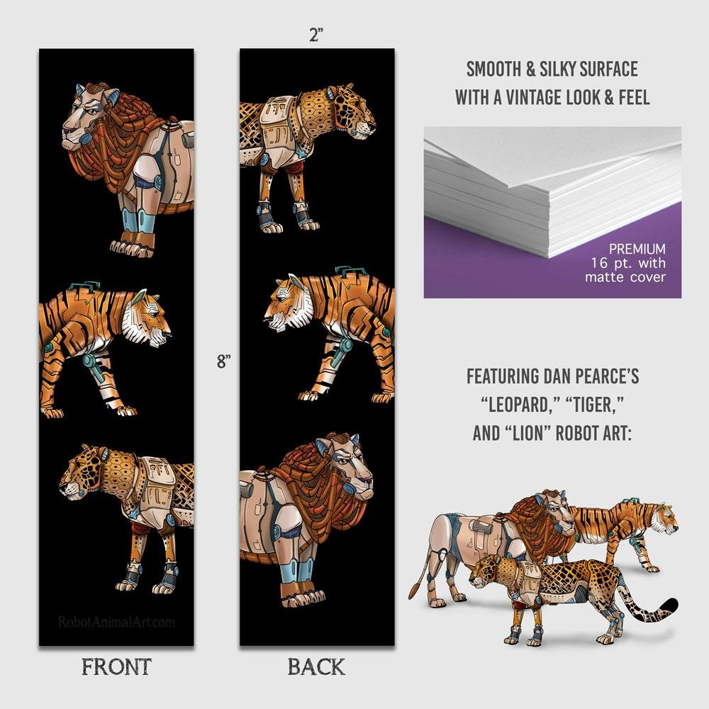 """Big Cat Robots"" Premium Bookmark Featuring Art by Dan Pearce - Dan Pearce Creative Shop"